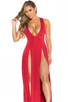 Womens Sexy V Neck Slit Front Sleeveless Maxi Clubwear Dress Red