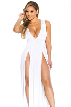 Womens Sexy V Neck Slit Front Sleeveless Maxi Clubwear Dress White