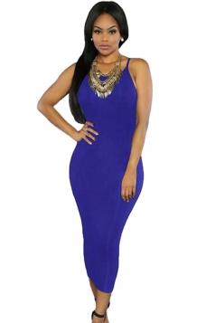 Womens Sexy Lace-up Back Plain Midi Clubwear Dress Blue