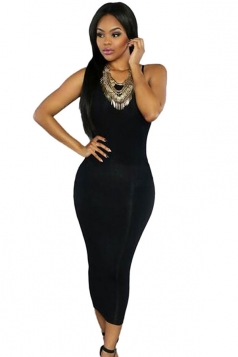 Womens Sexy Lace-up Back Plain Midi Clubwear Dress Black