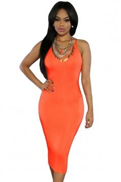 Womens Sexy Lace-up Back Plain Midi Clubwear Dress Orange