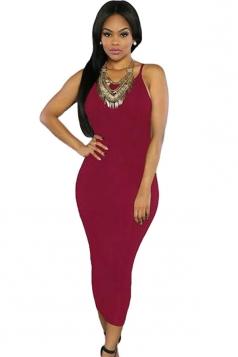 Womens Sexy Lace-up Back Plain Midi Clubwear Dress Ruby