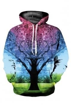 Womens Casual Long Sleeve 3D Tree Printed Hoodie Purple