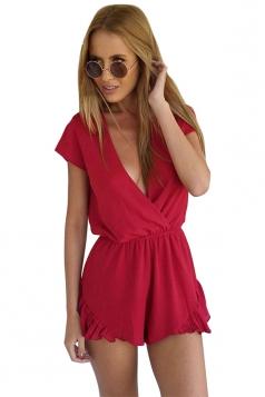 Womens Sexy V Neck Ruffle Short Sleeve Plain Romper Red