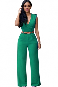 Womens Deep V Neck Sleeveless High Waist Wide Leg Jumpsuit Green