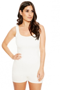Womens Sleeveless Plain Bodycon Romper White