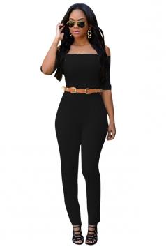Womens Sexy Plain Off Shoulder Half Sleeve Jumpsuit Black