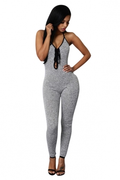 Womens Sexy Lace Up V Neck Backless Sleeveless Jumpsuit Gray
