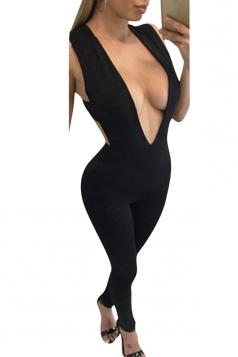 Womens Sexy Plain Plunging Neckline Sleeveless Jumpsuit Black
