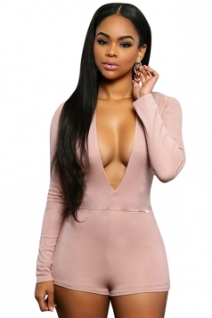 Womens Sexy Plunging Neck Long Sleeve Plain Romper Pink