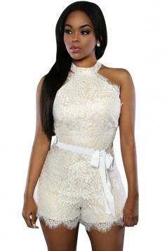 Womens Sexy Halter Sleeveless Lace Zipper Back Romper White