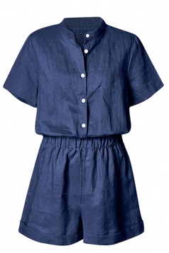 Womens Chic Stand Collar Short Sleeve Plain Romper Navy Blue