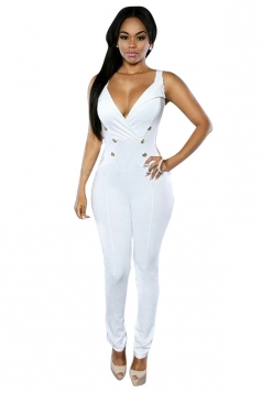 Womens Sexy V Neck Double-breasted Sleeveless Jumpsuit White