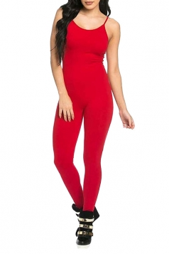 Womens Sexy Bodycon Spaghetti Straps Plain Jumpsuit Red