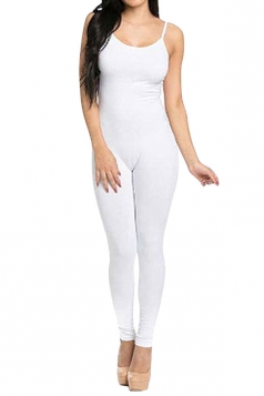 Womens Sexy Bodycon Spaghetti Straps Plain Jumpsuit White