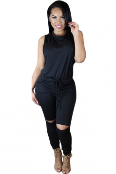 Womens Sleeveless Knee Cutout Drawstring Waist Jumpsuit Black