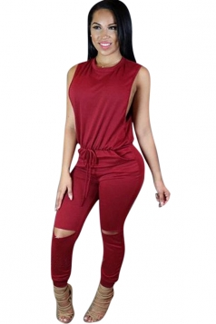 Womens Sleeveless Knee Cutout Drawstring Waist Jumpsuit Ruby