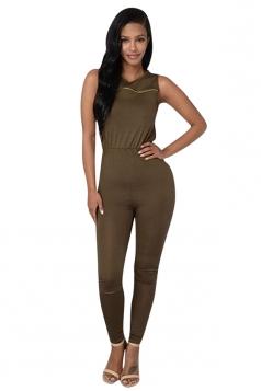 Womens Sexy Zipper Decor Knee Cutout Sleeveless Dark Green