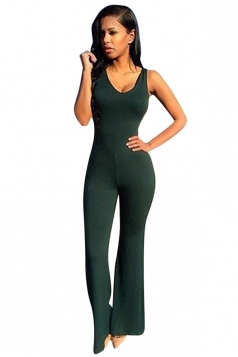 Womens Fashion Plain Sleeveless Bell Bottom Jumpsuit Dark Green
