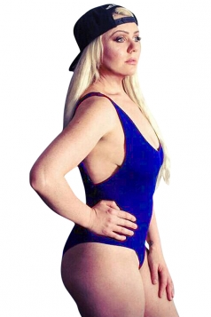 Womens Sexy Tank Sleeveless Bodycon Plain Bodysuit Sapphire Blue