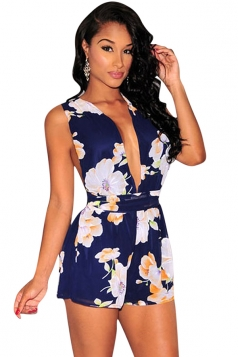 Womens Sexy V Neck Floral Printed Cross Backless Romper Navy Blue