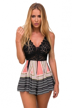 Womens Sexy V Neck Hollow Out Exotic Printed Romper Black