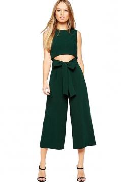 Womens Crewneck Lace-up Waist Sleeveless Palazzo Jumpsuit Dark Green