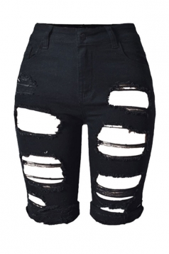 Womens Chic Ripped High Waisted Jeans Shorts Black