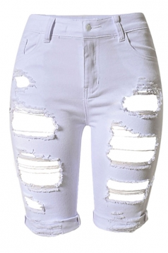 Womens Chic Ripped High Waisted Jeans Shorts White