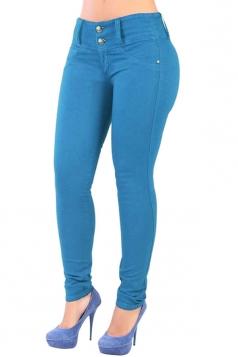 Womens Elastic Plain Buttons Slimming Jeans Blue