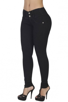 Womens Elastic Plain Buttons Slimming Jeans Black
