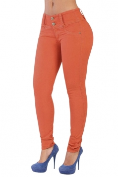Womens Elastic Plain Buttons Slimming Jeans Tangerine
