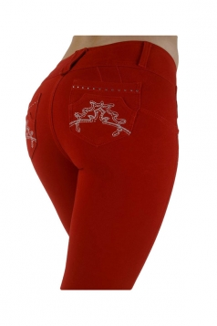 Womens Slimming Three Buttons Pencil Jeans Red