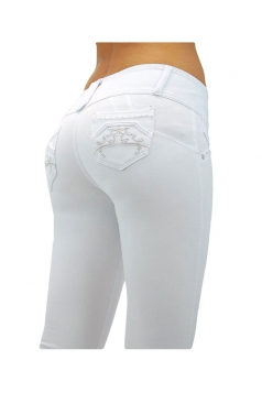 Womens Slimming Three Buttons Pencil Jeans White