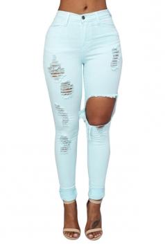 Womens Fashion Plain Ripped High Waist Jeans Light Green