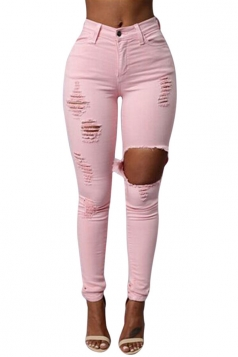 Womens Fashion Plain Ripped High Waist Jeans Pink