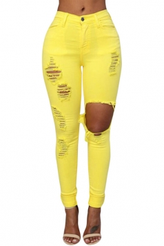 Womens Fashion Plain Ripped High Waist Jeans Yellow