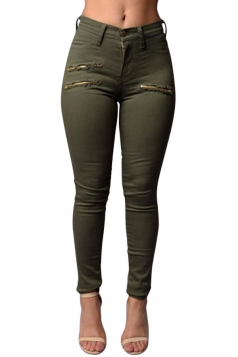 Womens Chic High Waist Zipper Plain Jeans Army Green