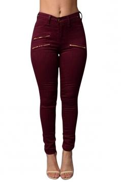 Womens Chic High Waist Zipper Plain Jeans Ruby