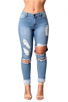 Womens Slimming Ripped Cut Out Denim Jeans Blue