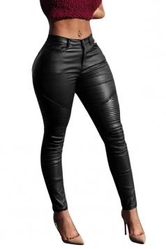 Womens Sexy Plain Draped PU Leather Leggings Black