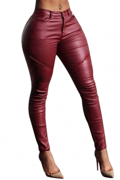 Womens Sexy Plain Draped PU Leather Leggings Ruby