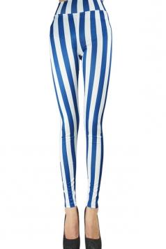 Womens Sexy High Waist Striped Leggings Blue