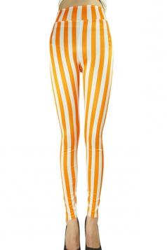 Womens Sexy High Waist Striped Leggings Orange