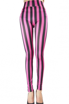 Womens Sexy High Waist Striped Leggings Rose Red