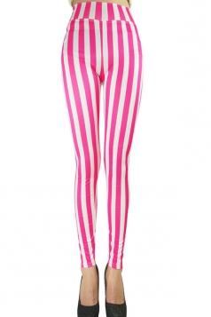 Womens Sexy High Waist Striped Leggings Pink
