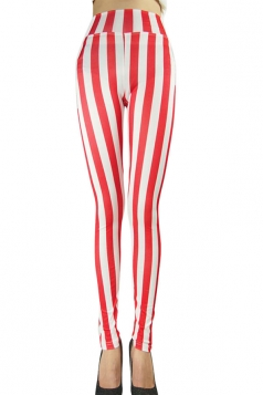 Womens Sexy High Waist Striped Leggings Red