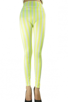 Womens Sexy High Waist Striped Leggings Yellow