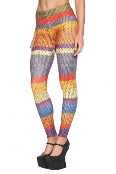 Womens Chic Knitted Wool Printed Slimming Leggings Yellow