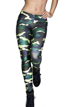 Womens Chic Camouflage Printed Slimming Leggings Green